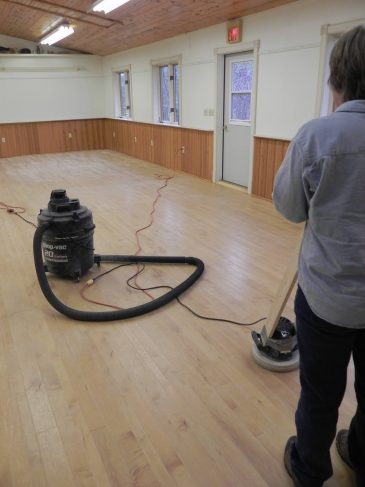 Sanding floor at Sophie