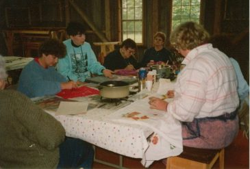Batik class in the barn