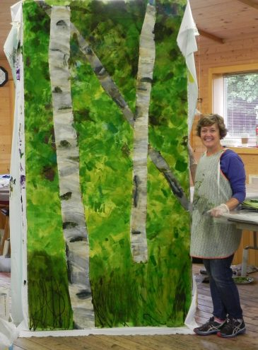 Fabric printing and dyeing in Stephanie Robertson's class