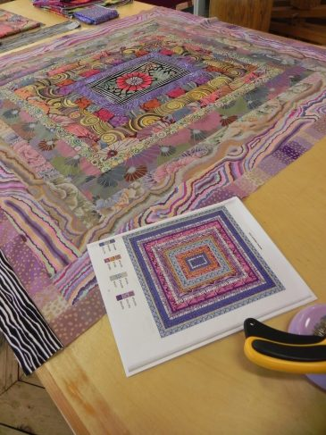 Kaffe Fassett fabrics in Driafting for Quilt Design